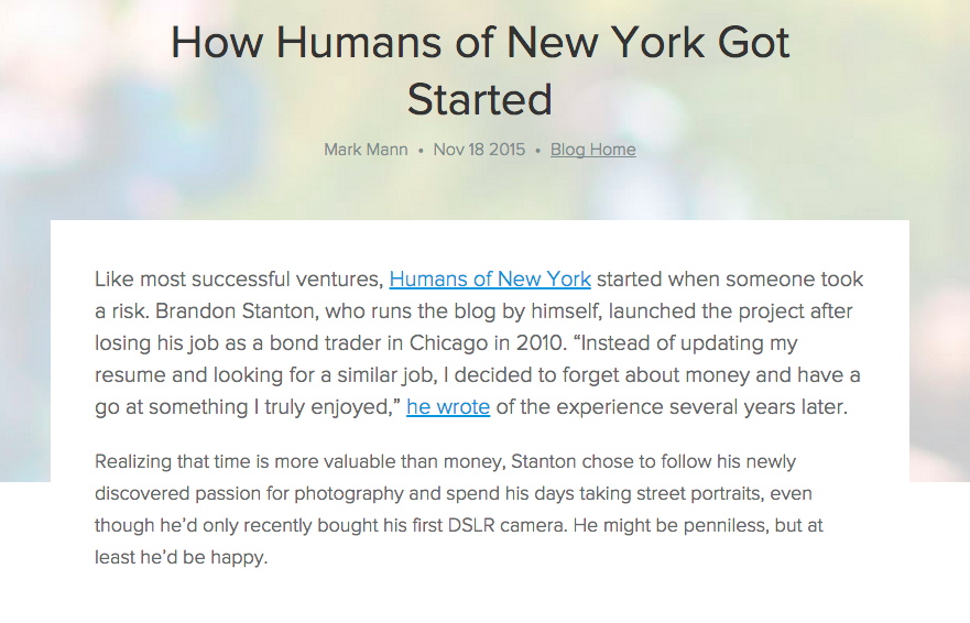 How Humans of New York Got Started