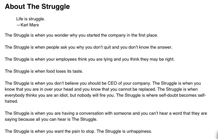 The Struggle - Ben Horowitz
