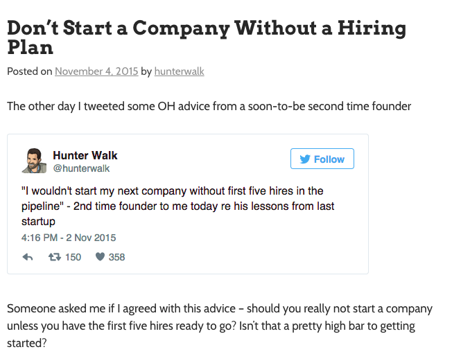 Hunter Walk's website is a great example of a VC blog that provides value