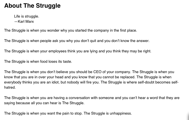 The Struggle - Ben Horowitz