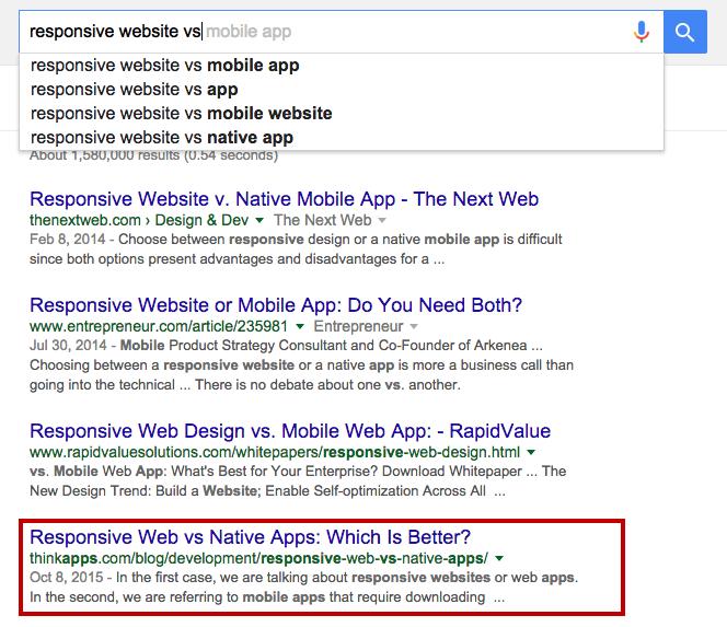 responsive vs native apps