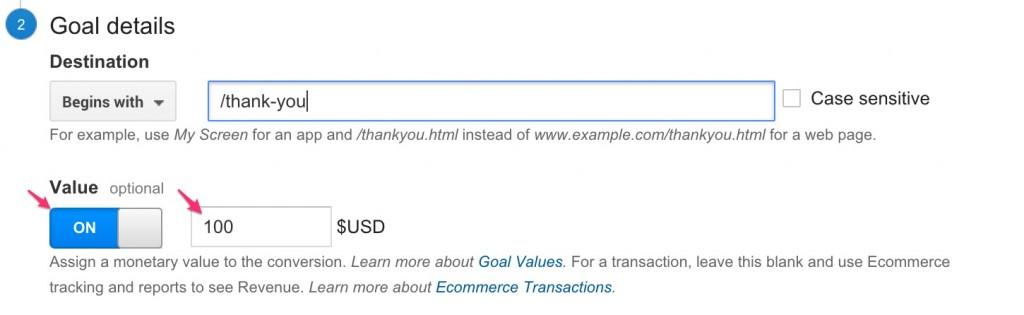 google analytics goal revenue value