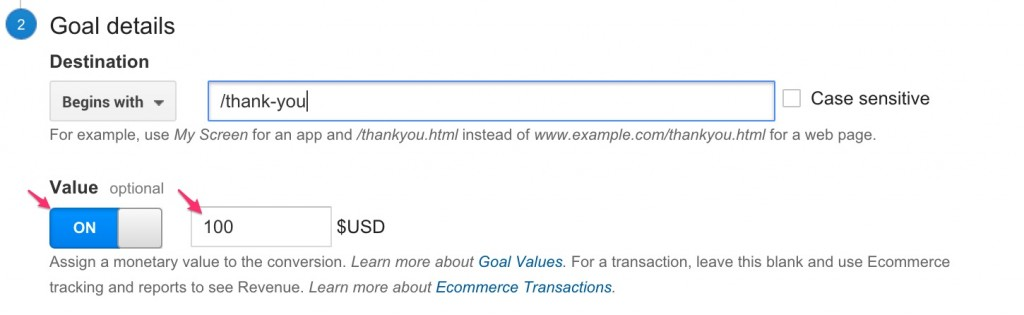 google analytics goal revenue value