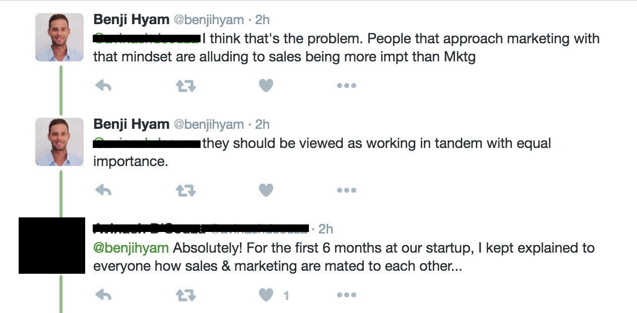 marketing sales working together tweet